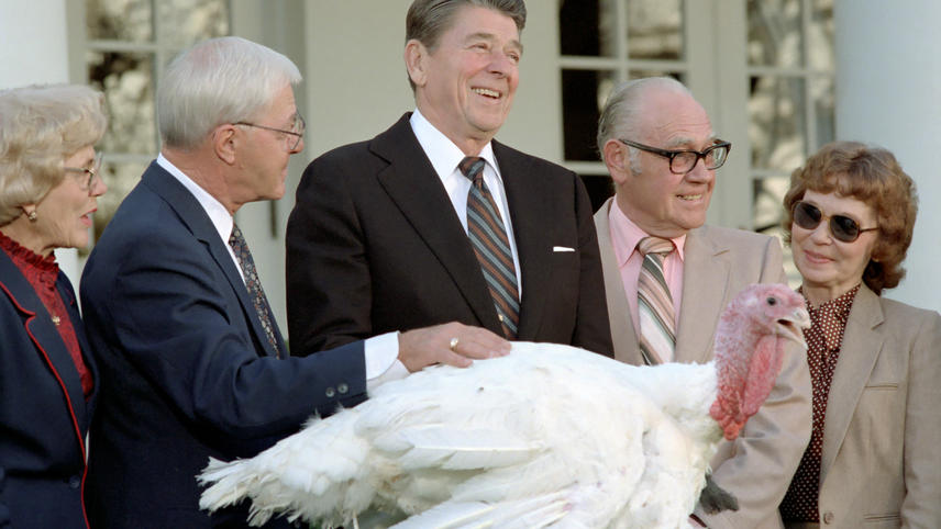 Ronald Reagan Pardons a Turkey