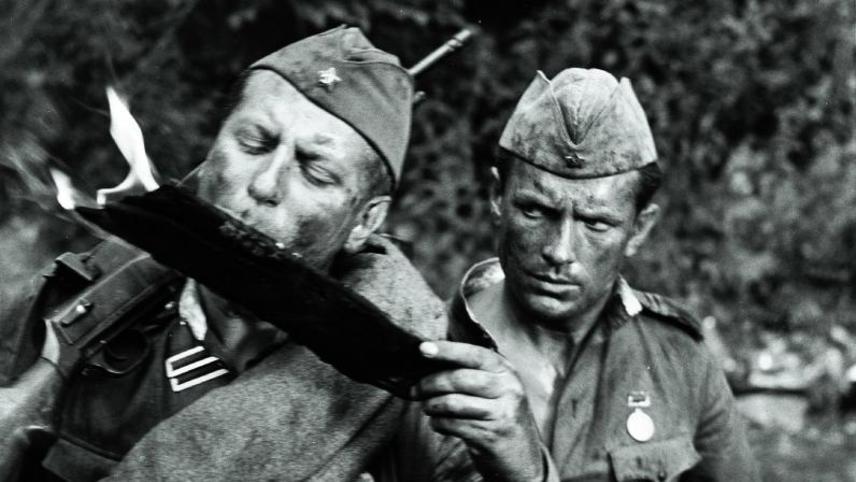 Men in Soldier's Overcoats