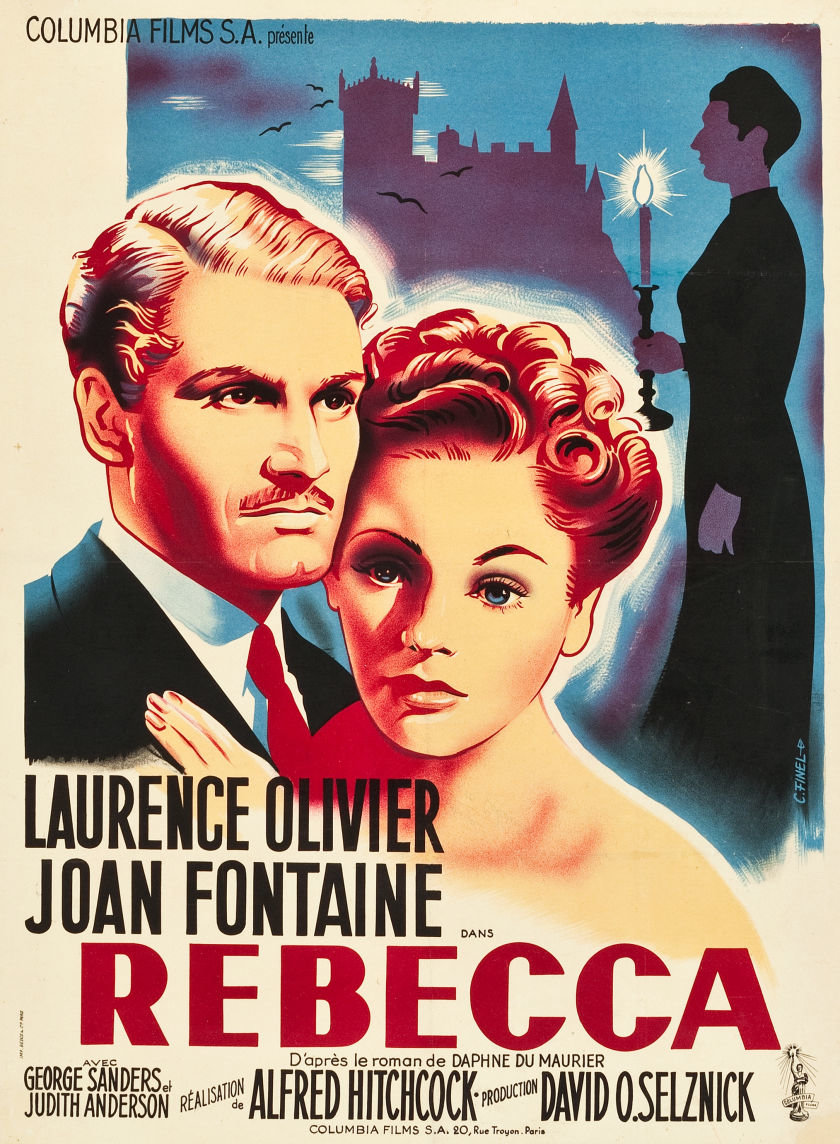 Poster design 1940 - Above Late 40s French Affiche For Rebecca Alfred Hitchcock Usa 1940 Artist Claire Finel