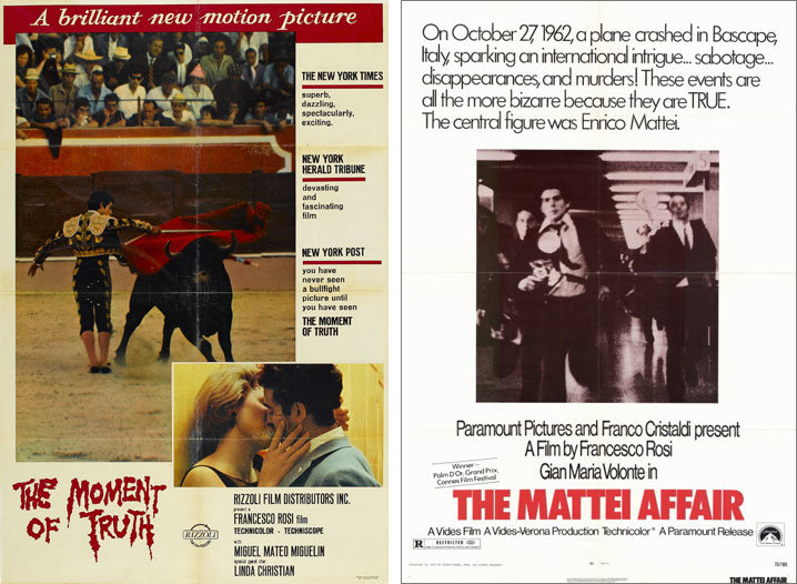 The Moment of Truth and The Mattei Affair posters